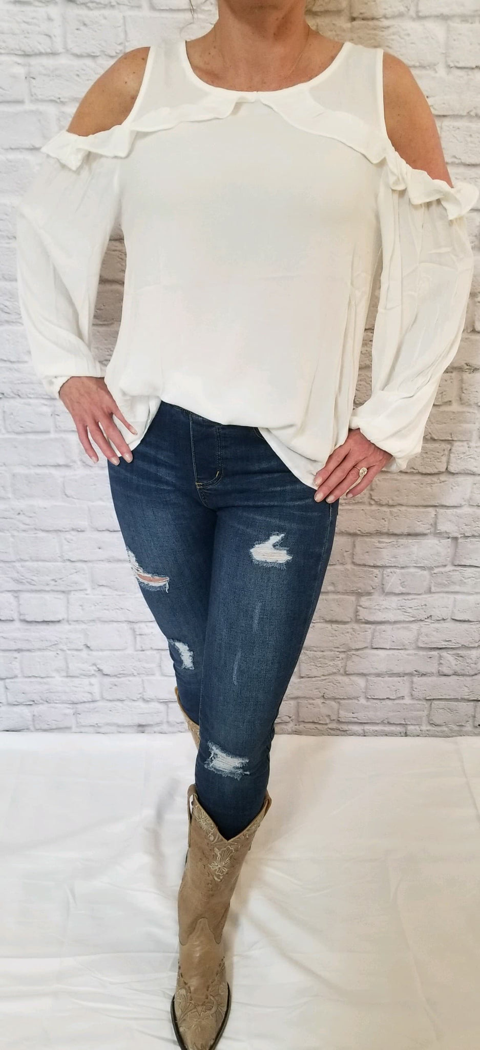 Cold-Shoulder Ruffle-Detailed Blouse - Ivory