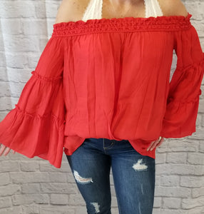 Off-The-Shoulder Ruffled Bell-Sleeved Blouse - Red