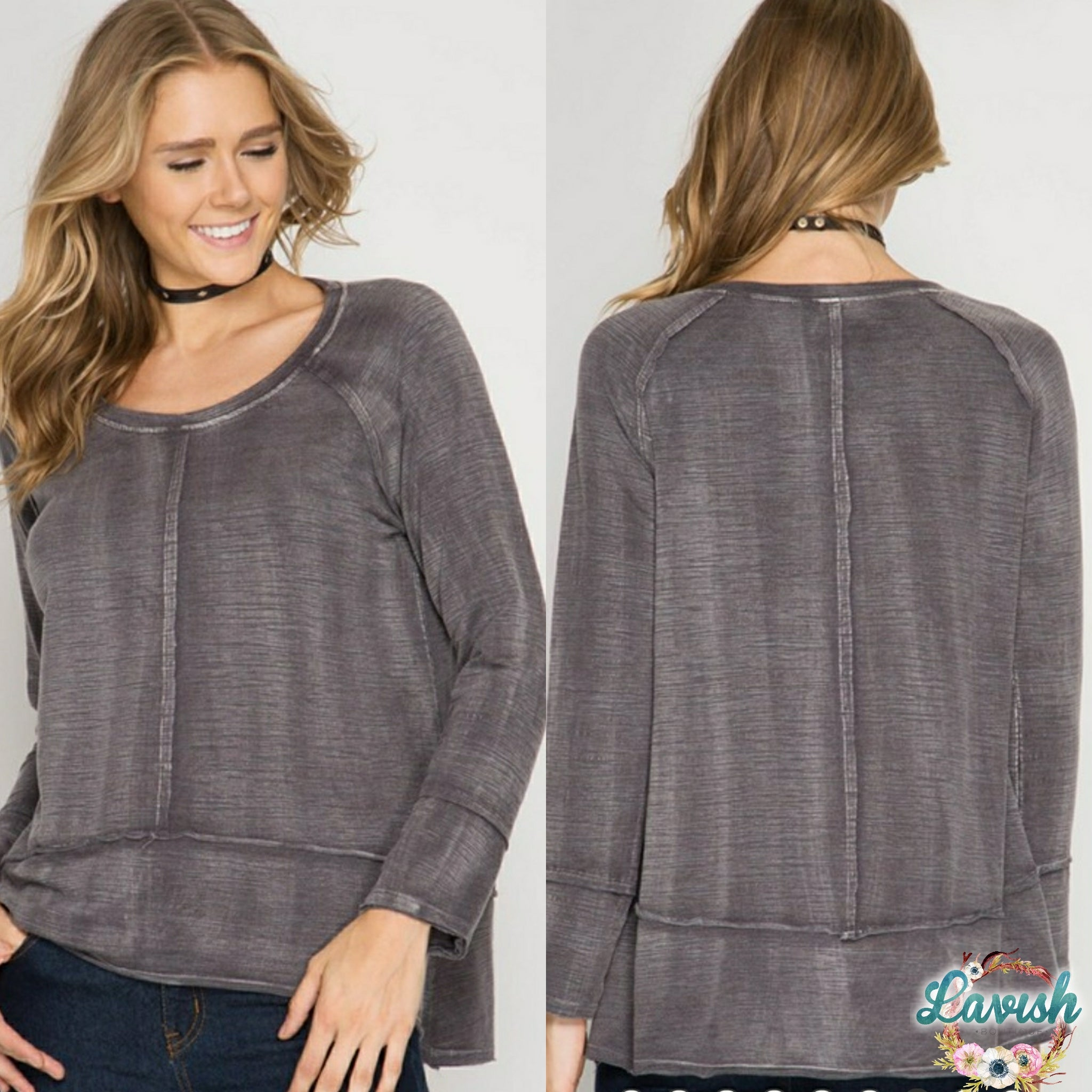 Grey Mineral Washed Top
