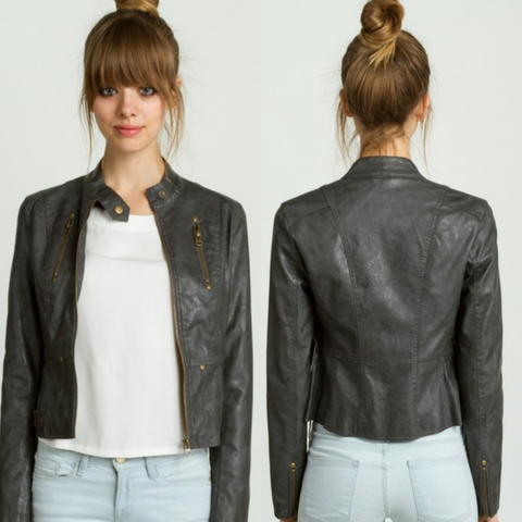 Faux Leather Motorcycle Jacket-Charcoal