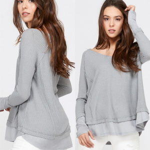 Grey Layered Waffle Top With Thumbholes