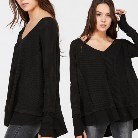 Black Layered Waffle Top With Thumbholes