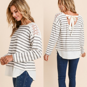 Stripe Top With Lace/Tie Detail