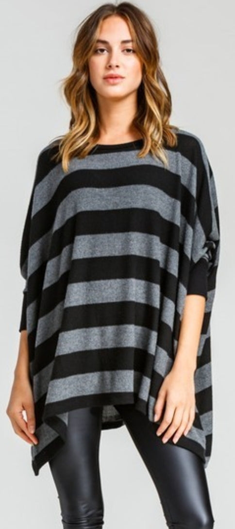 Super Soft Black And Grey Stripe Top