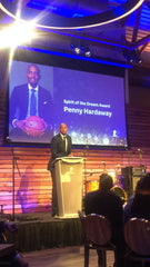 Penny Hardaway receiving with the Spirit of the Dream Award during the St. Jude Spirit of the Dream in Memphis TN
