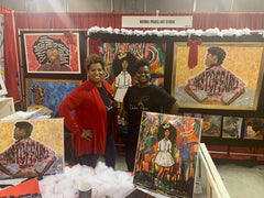Artist Diedria Pigues with her bestfriend Kenisha Cox at the Black Christmas Expo in Memphis Tn