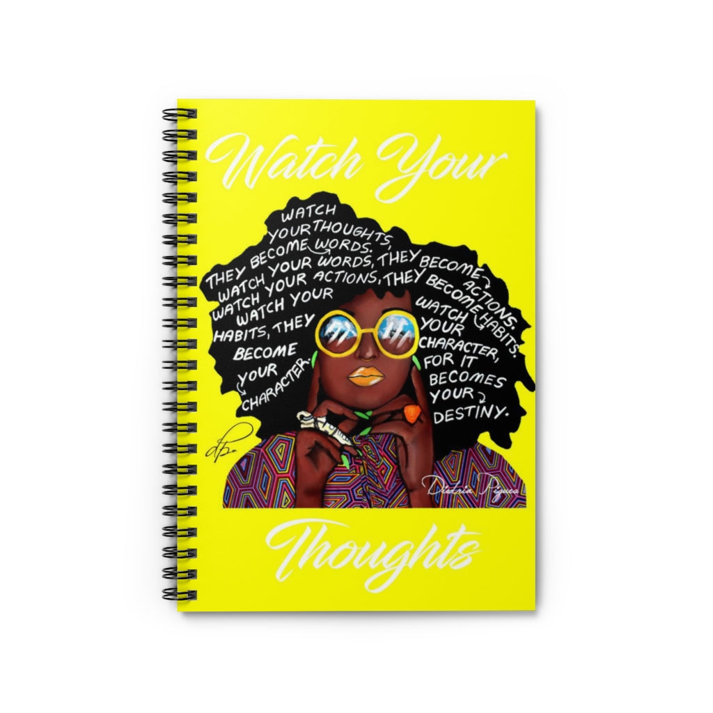 Watch Your Thoughts Yellow Spiral Notebook - Ruled Line