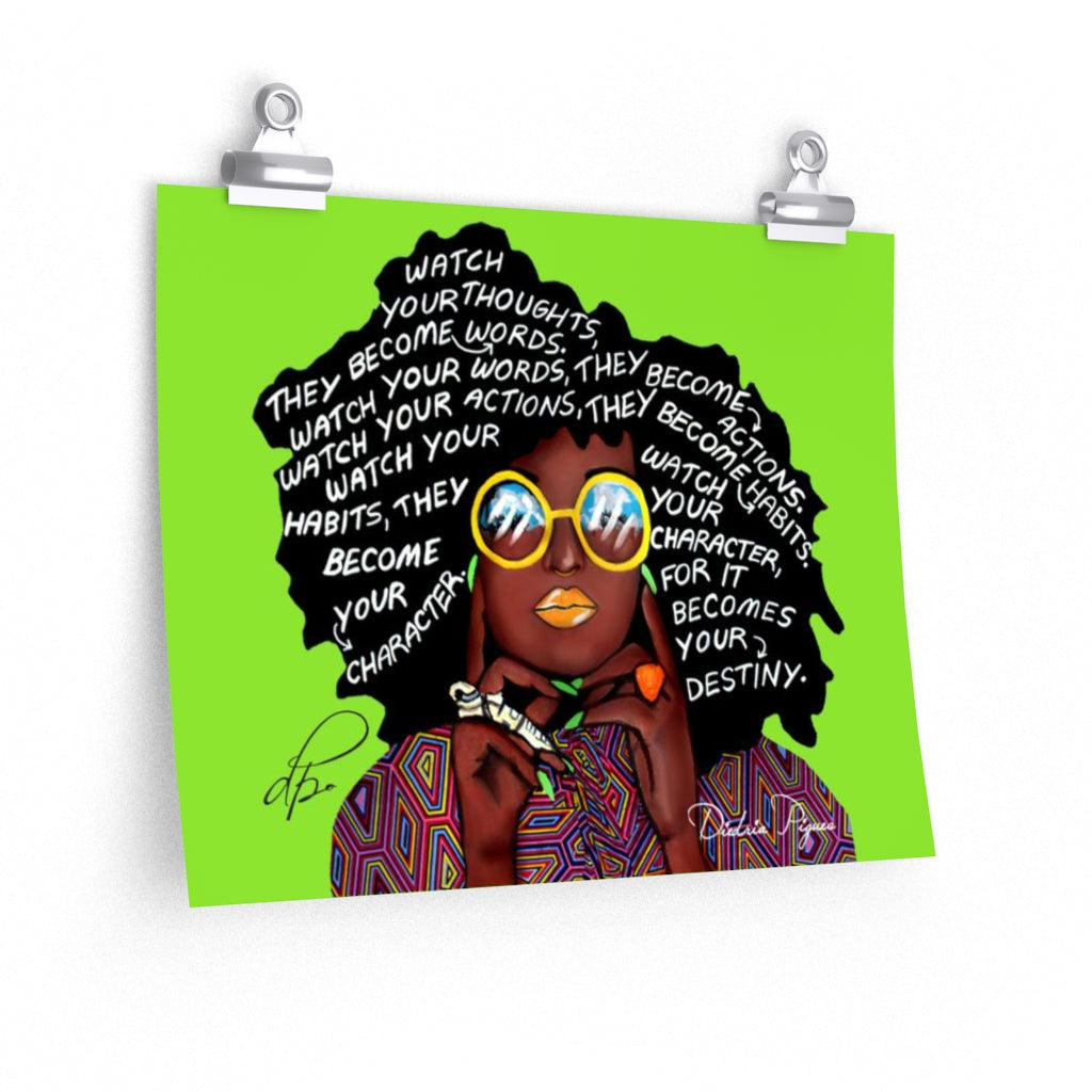 Watch Your Thoughts Lime Green Art Print