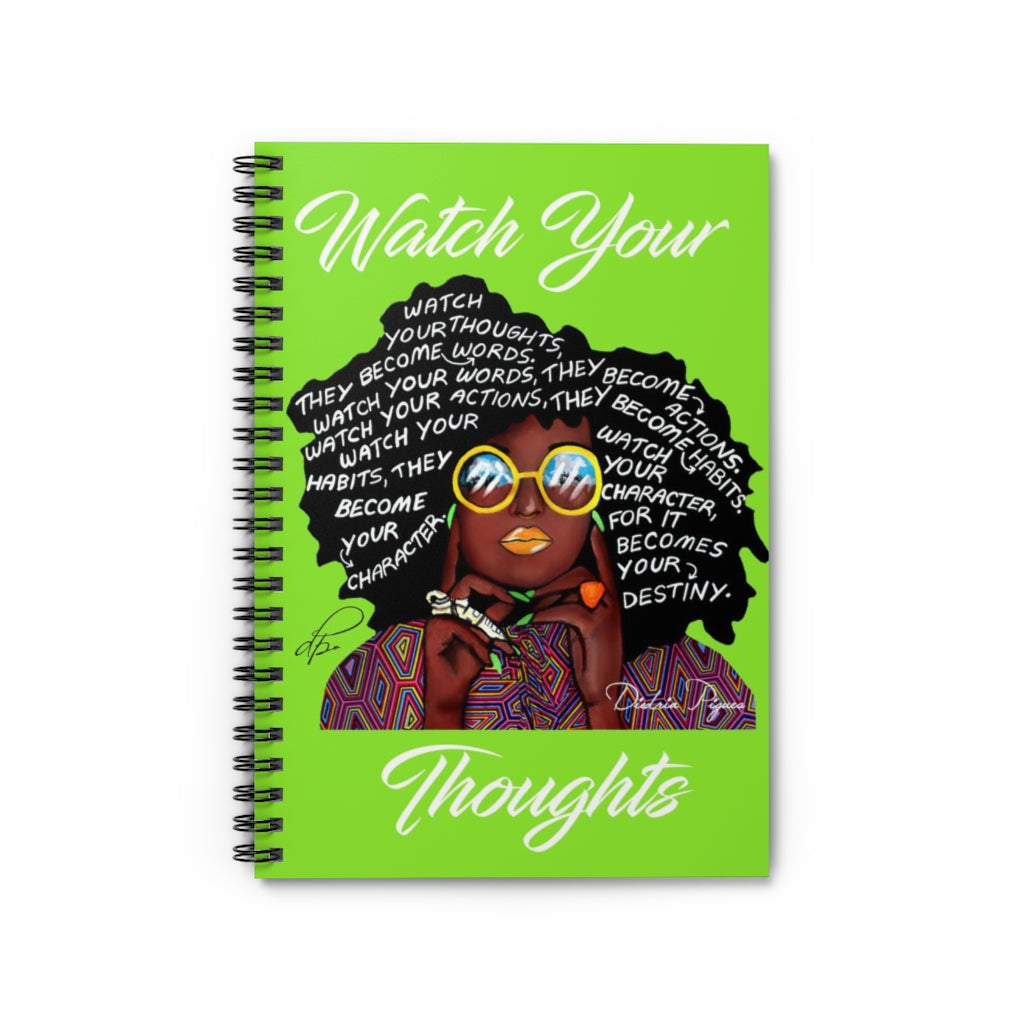 Watch Your Thoughts Lime Green Spiral Notebook - Ruled Line