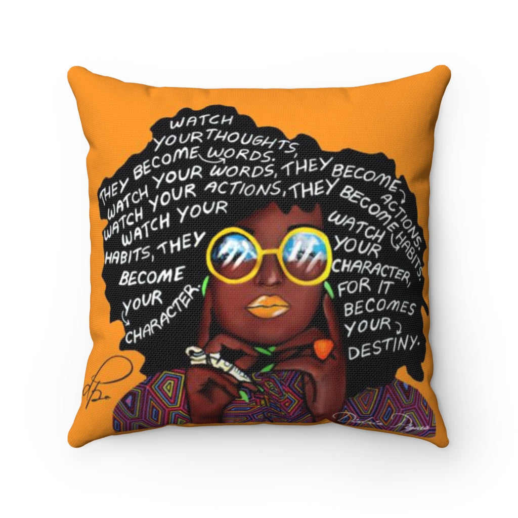 Watch Your Thoughts Orange Spun Polyester Square Pillow