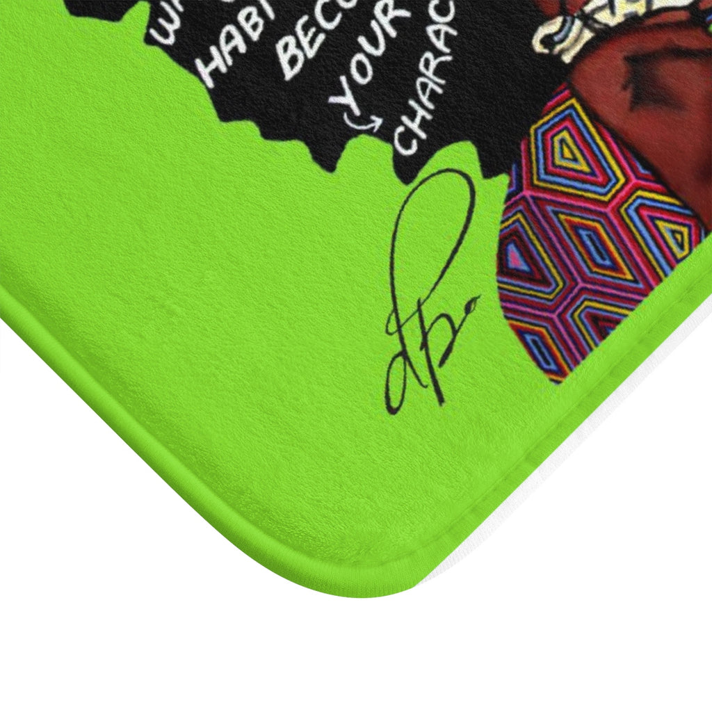 Watch Your Thoughts Lime Green Bath Mat