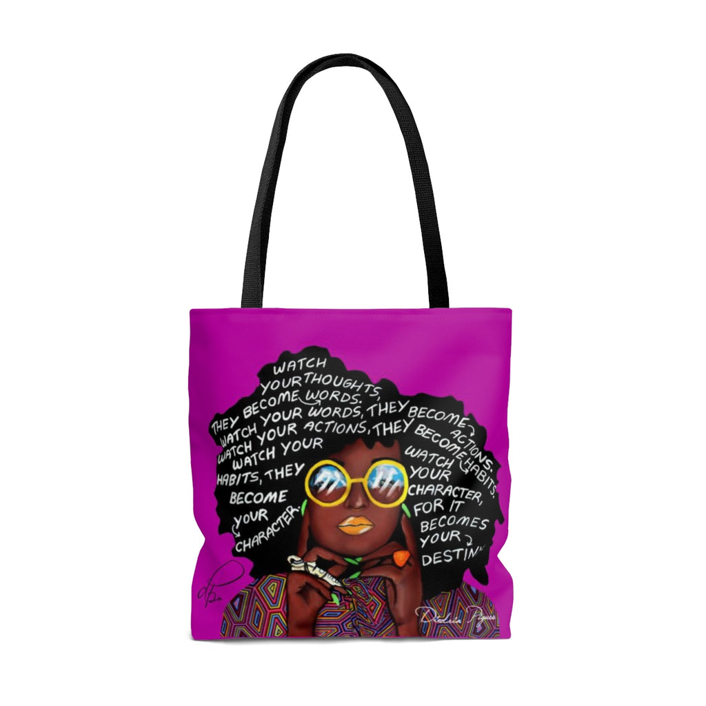 Watch Your Thoughts Purple Tote Bag