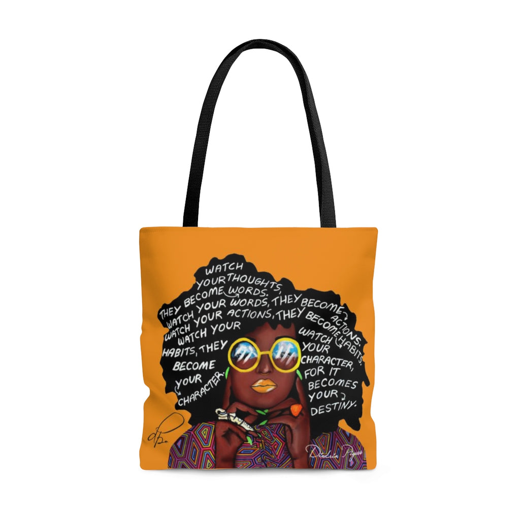 Watch Your Thoughts Orange Tote Bag