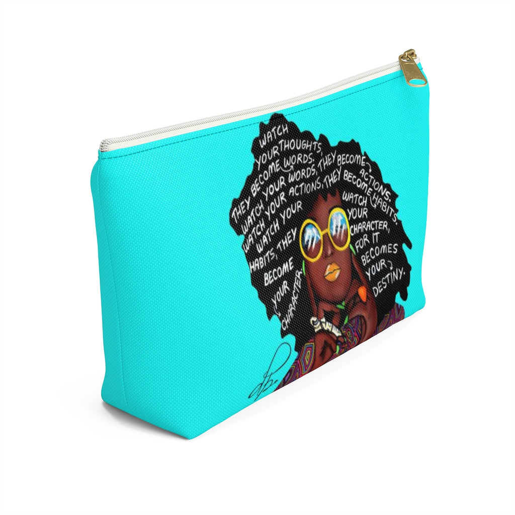 Watch Your Thoughts Teal Accessory Pouches
