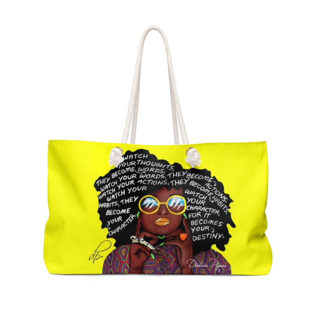 Watch Your Thoughts Yellow Weekender Bag