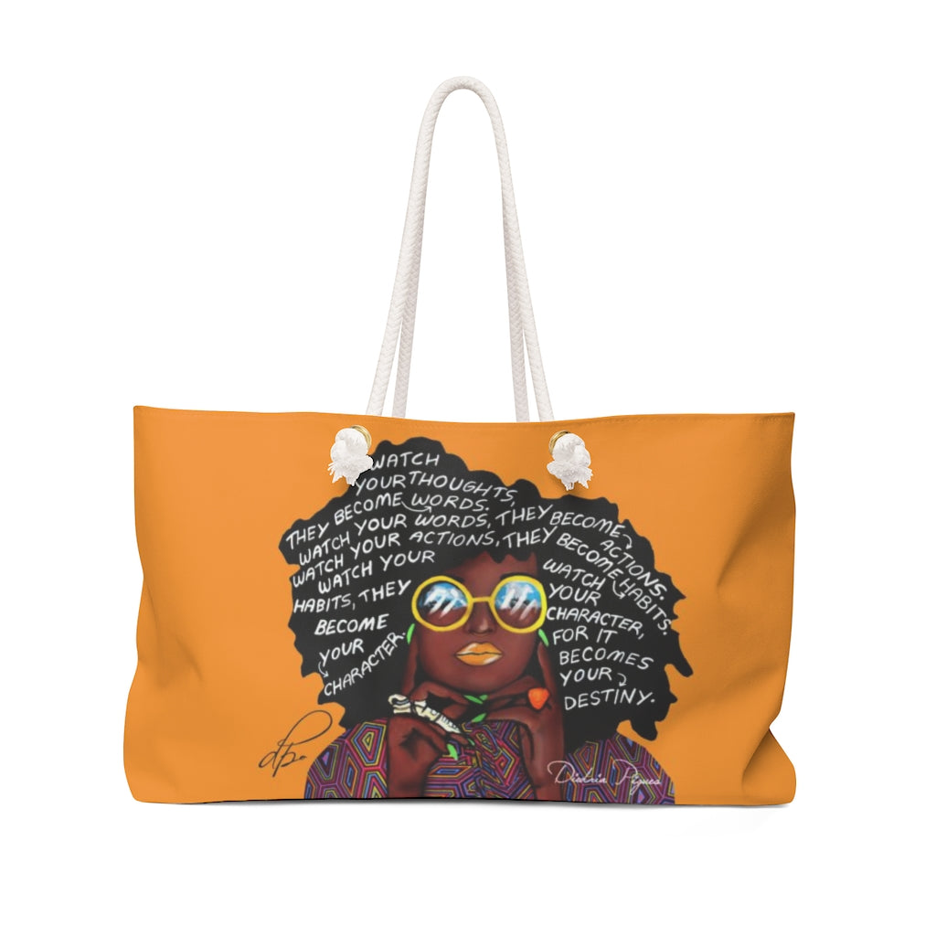 Watch Your Thoughts Orange Weekender Bag