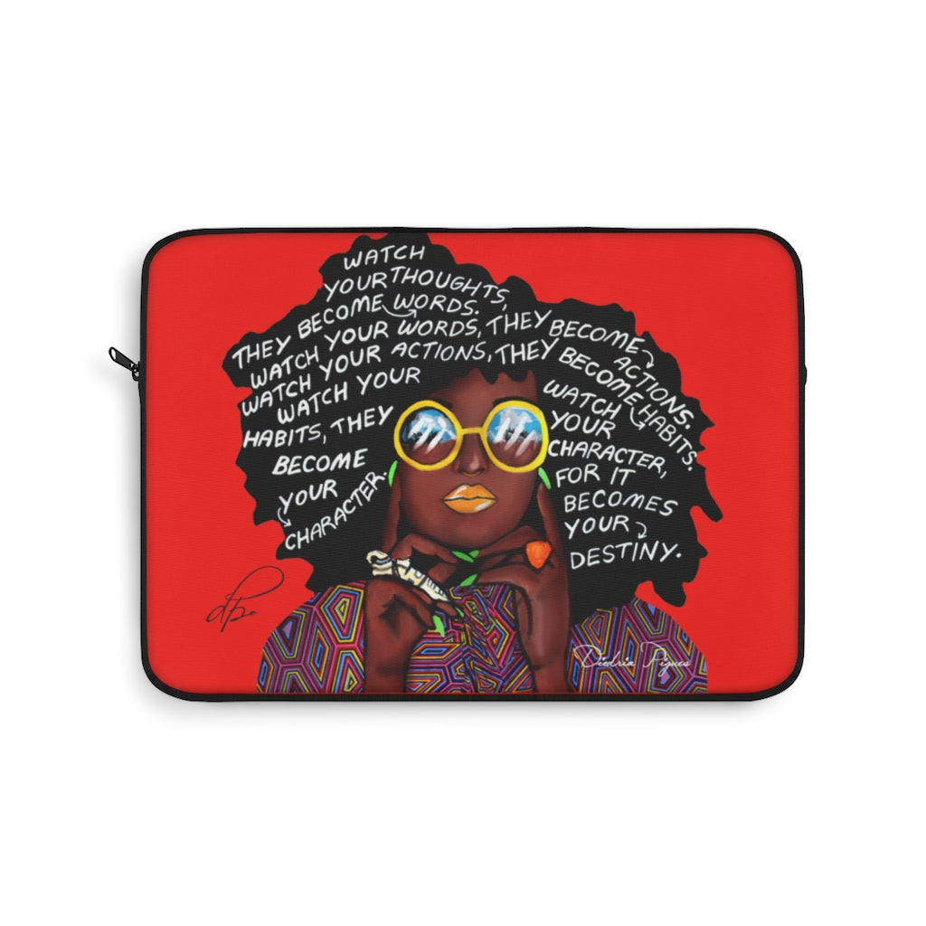 Watch Your Thoughts Red Laptop Sleeve