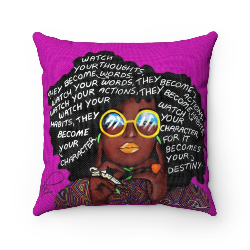 Watch Your Thoughts Purple Spun Polyester Square Pillow