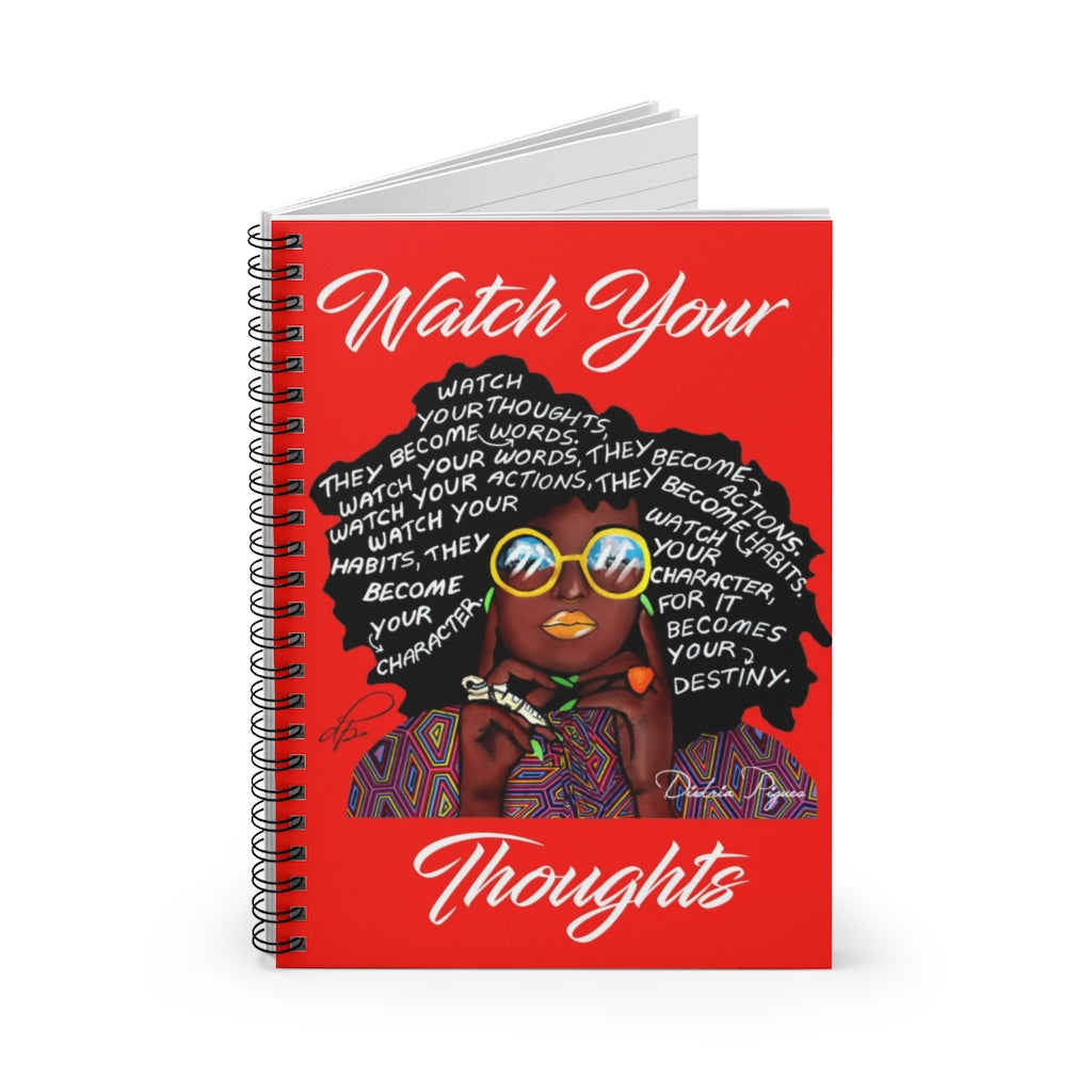 Watch Your Thoughts Red Spiral Notebook - Ruled Line