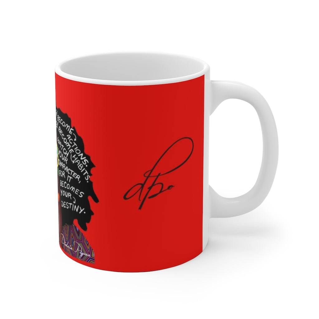 Watch Your Thoughts Red Ceramic Mug