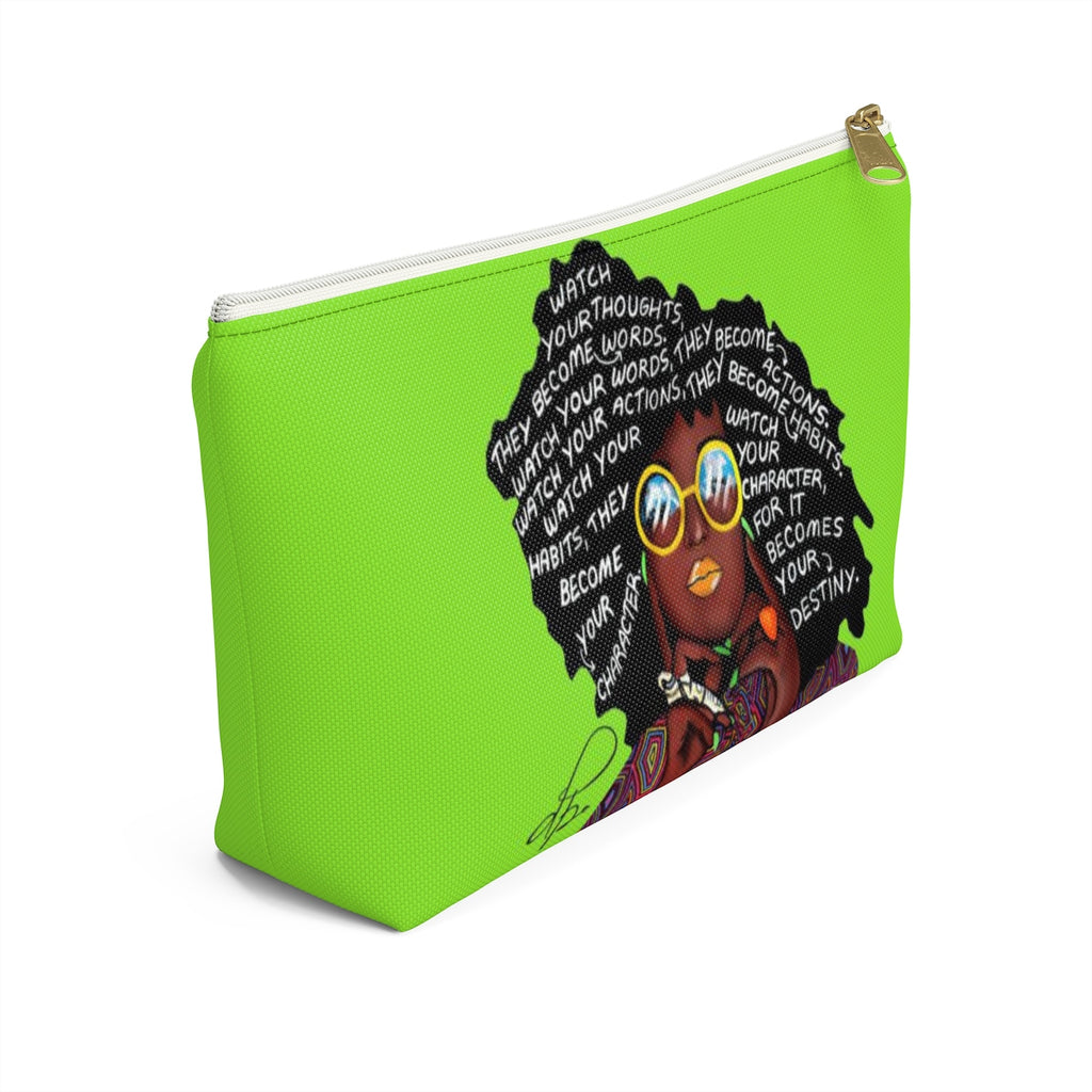 Watch Your Thoughts Lime Green Accessory Pouches