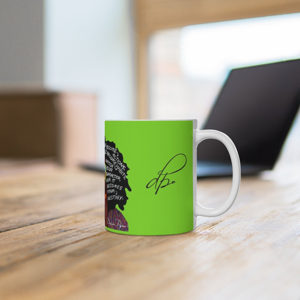Watch Your Thoughts Lime Green Ceramic Mug