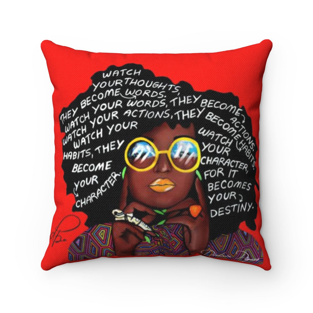 Watch Your Thoughts Red Spun Polyester Square Pillow