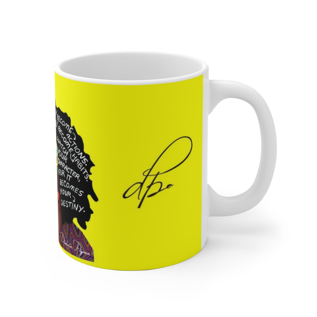 Watch Your Thoughts Yellow Ceramic Mug