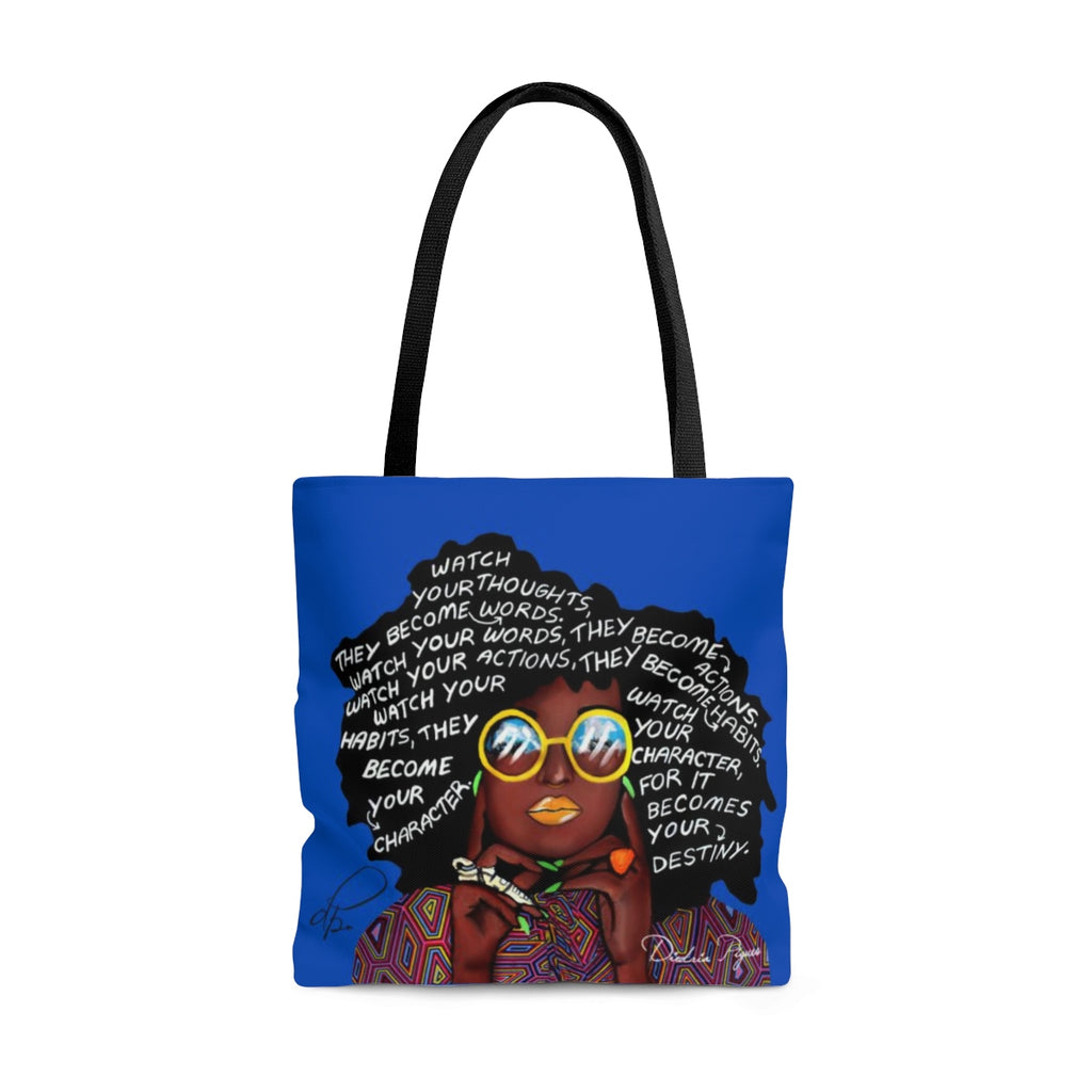 Watch Your Thoughts Blue Tote Bag