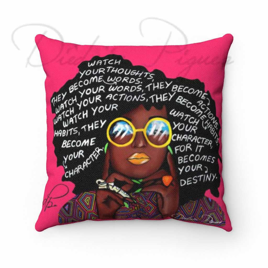 Back_Watch Your Thoughts Pink Spun Polyester Square Throw Pillow