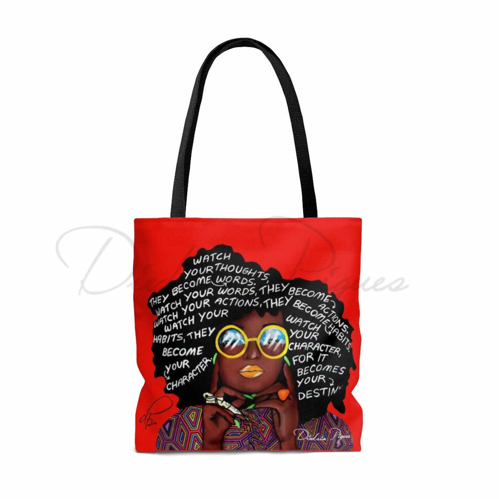 Back_Watch Your Thoughts Red Tote Bag