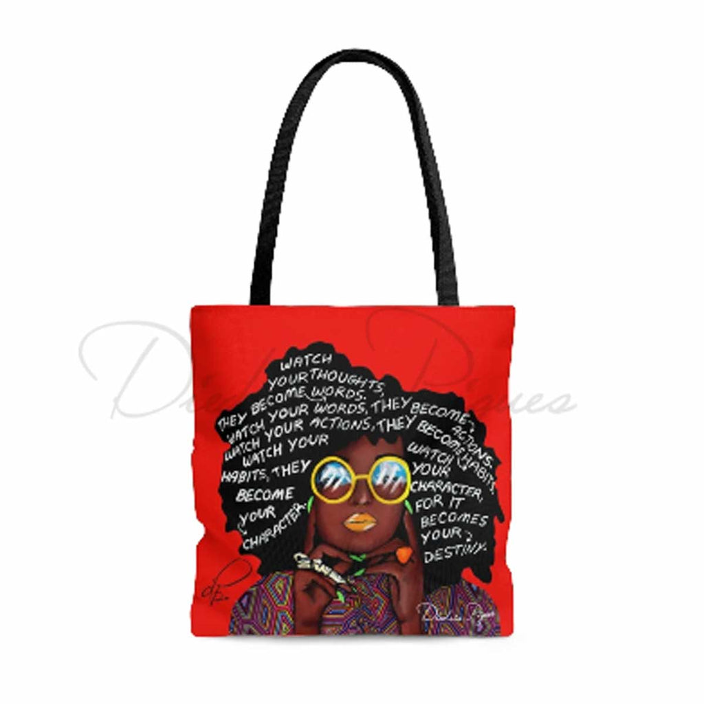 Front_Watch Your Thoughts Red Tote Bag