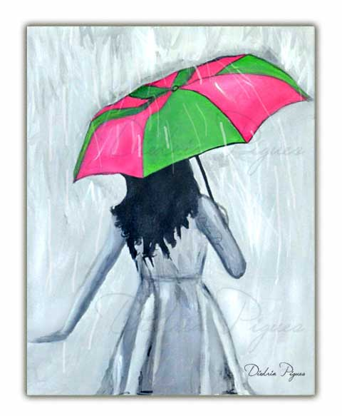 Original Acrylic Painting by Diedria Pigues titled Elegant Showers