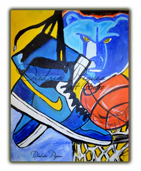 Original acrylic canvas painting titled Go Grizz by artist Diedria Pigues