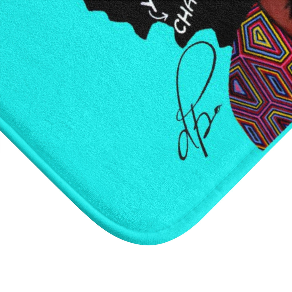 Watch Your Thoughts Teal Bath Mat
