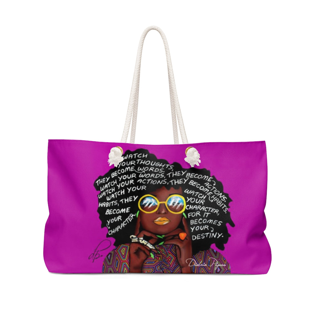 Watch Your Thoughts Purple Weekender Bag