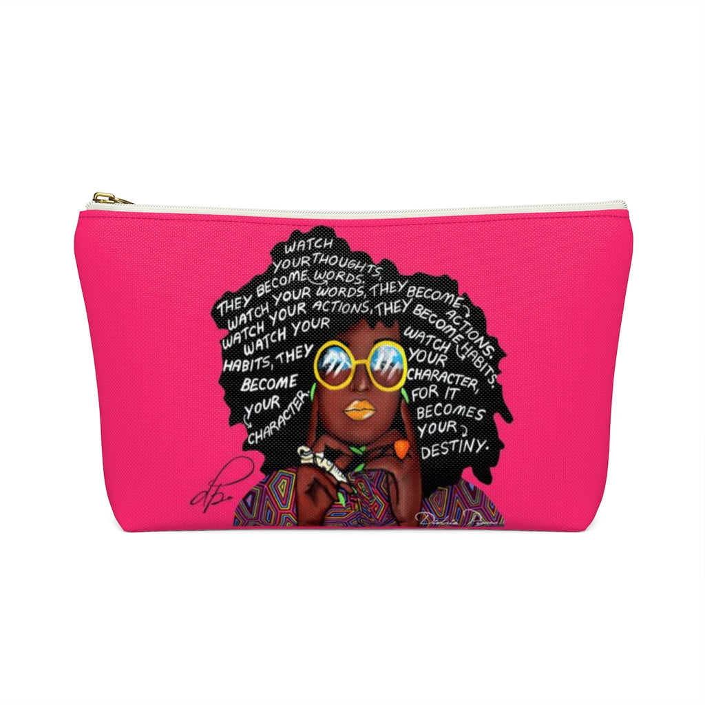 Watch Your Thoughts Pink Accessory Pouches