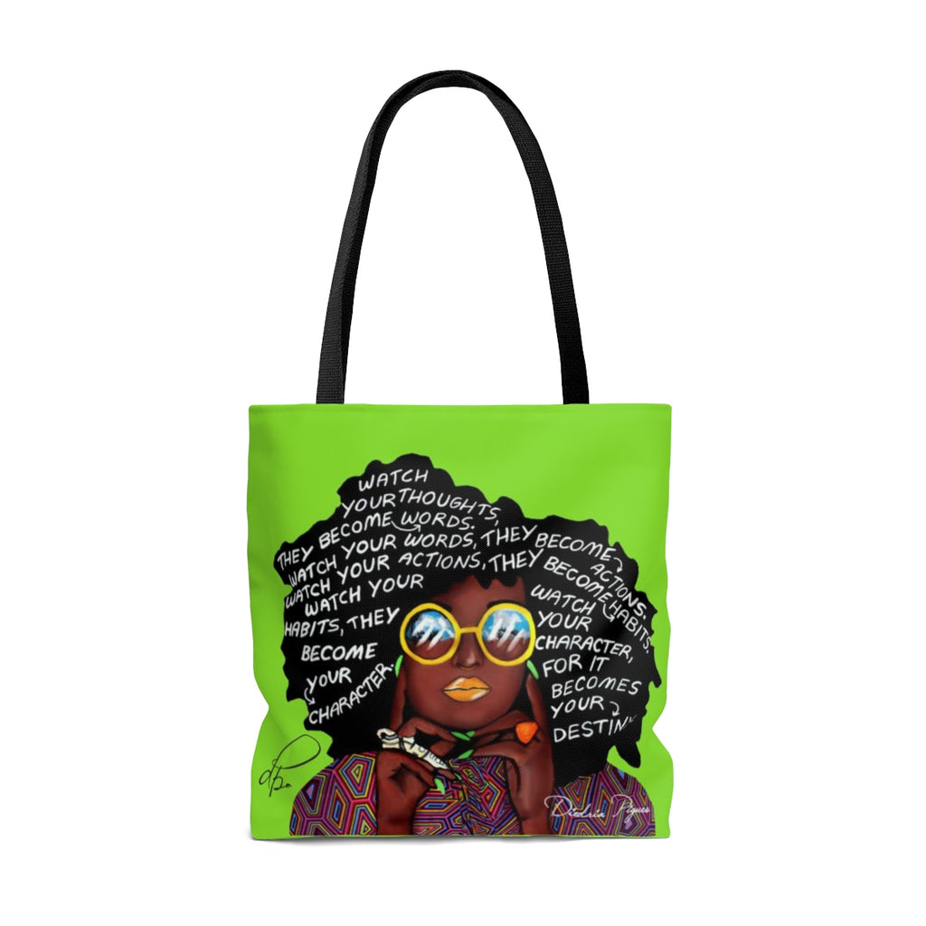 Watch Your Thoughts Lime Green Tote Bag