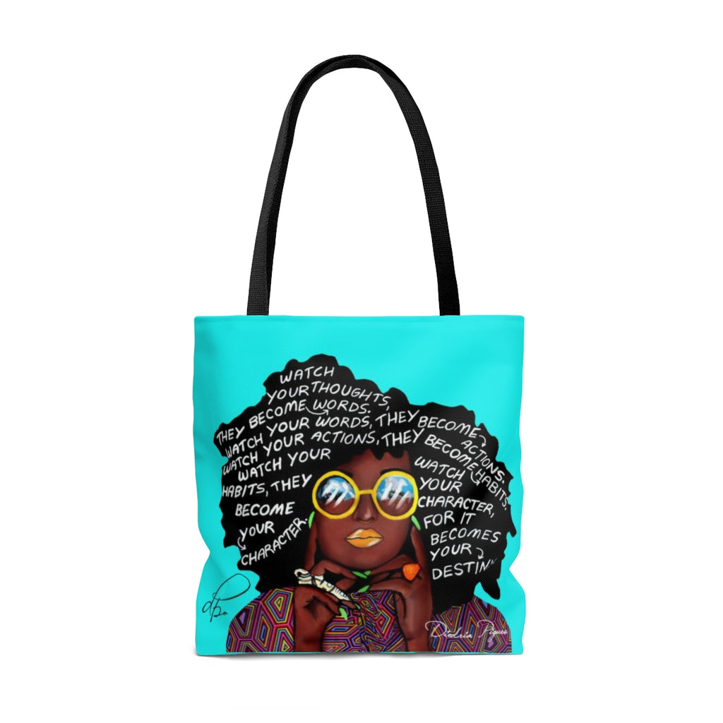 Watch Your Thoughts Teal Tote Bag