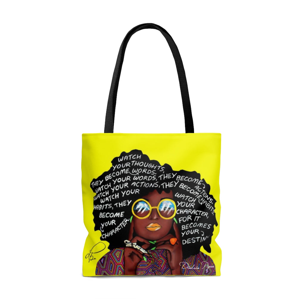 Watch Your Thoughts Yellow Tote Bag
