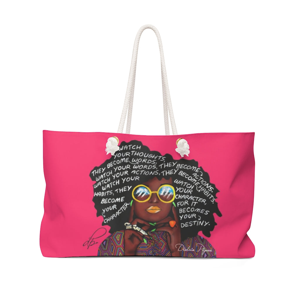 Watch Your Thoughts Hot Pink Weekender Bag