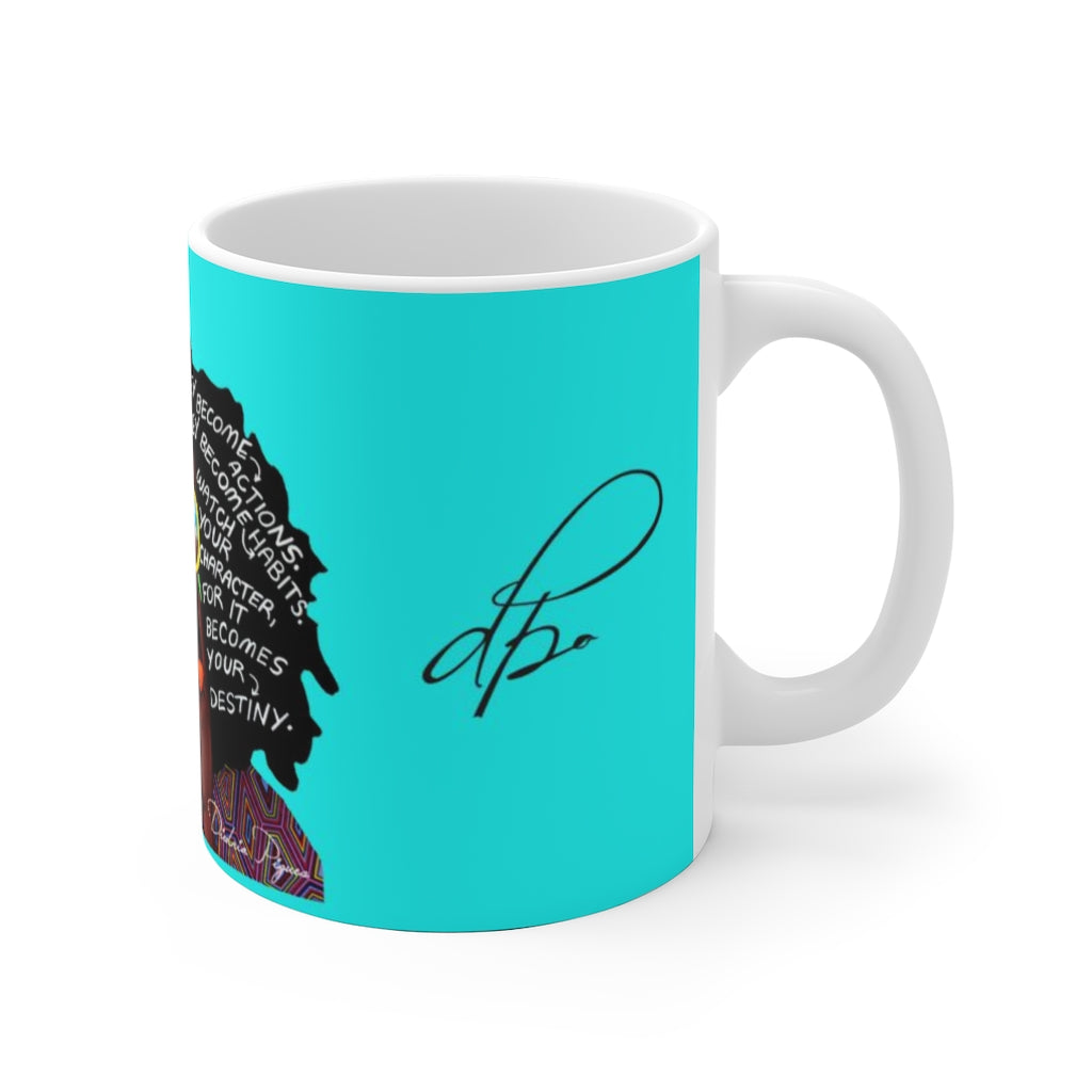Watch Your Thoughts Teal Ceramic Mug