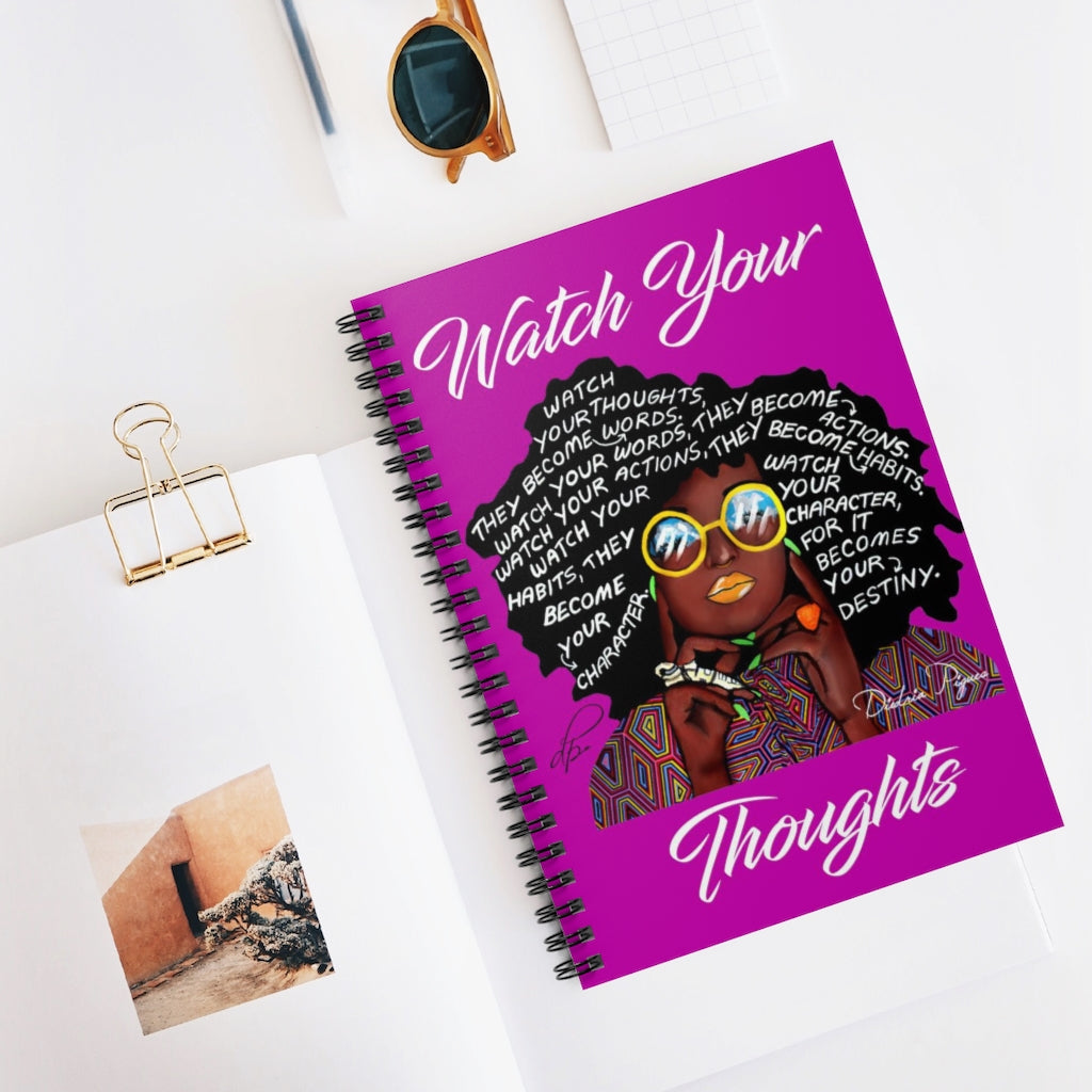 Watch Your Thoughts Purple Spiral Notebook - Ruled Line
