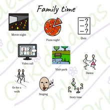Load image into Gallery viewer, Family Time Stickers for Tomtag collection, Learning Resource, for disabled children.