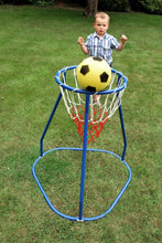 Load image into Gallery viewer, Boy playing with Basketball Stand, motor and cognitive skills, for children with disabilities.