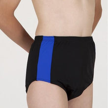 Navy/Turquoise HiLINE Boys Incontinence Contrast Swim Trunks, Swimwear, for disabled children.