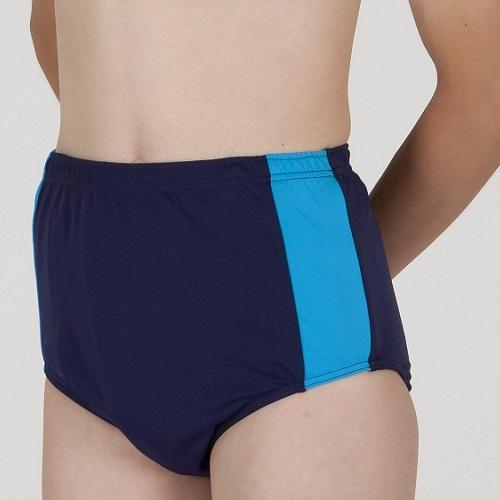 Black/Royal Blue HiLINE Boys Incontinence Contrast Swim Trunks, Swimwear, for disabled children.