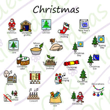 Load image into Gallery viewer, Christmas & Birthdays Sticker pack for Tomtag collection, Learning Resource, for disabled children.