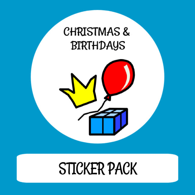 Christmas & Birthdays Sticker pack for Tomtag collection, Learning Resource, for disabled children.