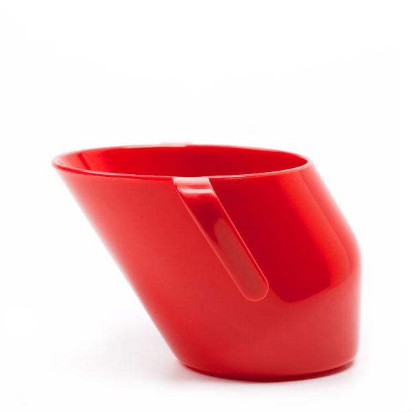 Red Doidy Cup, drinking, for disabled children.